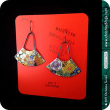 Load image into Gallery viewer, Flower Fandangle Upcycled Tin Earrings by Christine Terrell for adaptive reuse jewelry