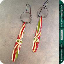Load image into Gallery viewer, upcycled red and green tin earrings by christine terrell