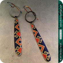 Load image into Gallery viewer, Chinese Pattern Upcycled Tin Earrings by Christine Terrell for adaptive reuse jewelry