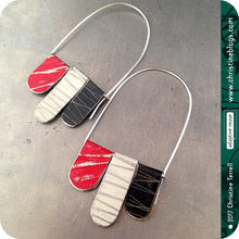 Load image into Gallery viewer, Red, Black & White Arched Upcycled Tin Dangle Earrings