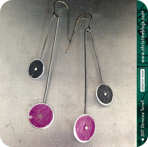 Purple and Black Long Dot Upcycled Tin Earrings 30th Birthday Gift