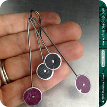 Load image into Gallery viewer, Purple and Black Long Dot Upcycled Tin Earrings 30th Birthday Gift