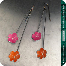 Load image into Gallery viewer, Tiny PInk & Orange Flowers Upcycled Tin Earrings