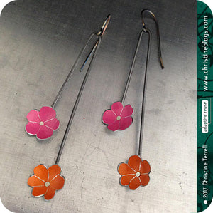 Tiny PInk & Orange Flowers Upcycled Tin Earrings
