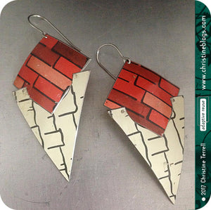 Black & Red Tribal Shield Slow Fashion Tin Earrings