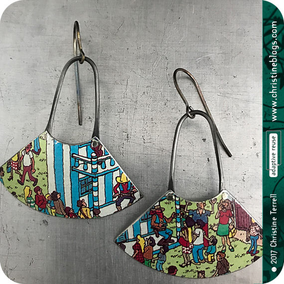 Where's Waldo Upcycled Small Fan Tin Earrings