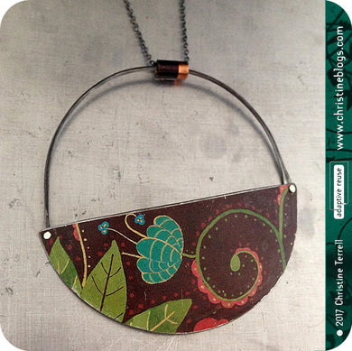 Chocolate Botanical Half Moon Pendant Recycled Tin Neckalce