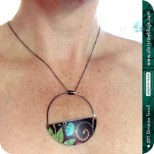 Load image into Gallery viewer, Chocolate Botanical Half Moon Pendant Recycled Tin Neckalce