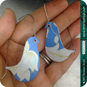 Cornflower Blue Birds on a Wire Upcycled Tin Earrings by Christine Terrell for adaptive reuse jewelry