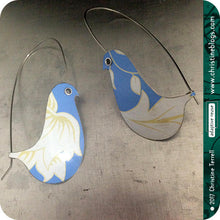 Load image into Gallery viewer, Cornflower Blue Birds on a Wire Upcycled Tin Earrings by Christine Terrell for adaptive reuse jewelry