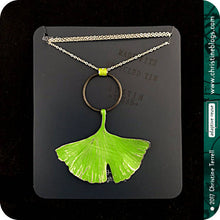 Load image into Gallery viewer, Green Ginkgo Leaf Upcycled Tin Necklace 30th Birthday Gift