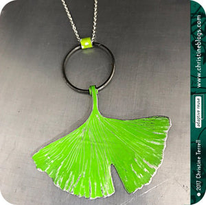 Green Ginkgo Leaf Upcycled Tin Necklace 30th Birthday Gift