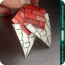 Load image into Gallery viewer, Black & Red Tribal Shield Slow Fashion Tin Earrings