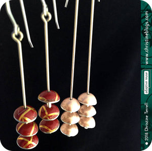Champagne Pink Zen Chimes Upcycled Tin Earrings by Christine Terrell for adaptive reuse jewelry