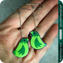 Load image into Gallery viewer, Little Green Birds Upcycled TIn Earrings
