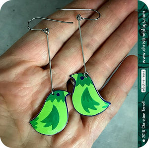 Little Green Birds Upcycled TIn Earrings