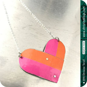 Pink & Orange Zero Waste Tin Heart Necklace 40th Birthday Gift