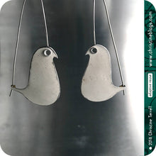 Load image into Gallery viewer, White Birds on a Wire Upcycled Tin Earrings 20th Birthday Gift