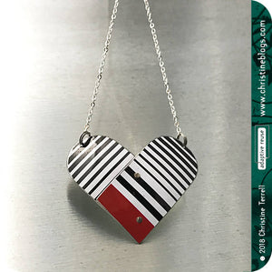 Black & White Tin Heart Recycled Necklace Tin Anniversary Gift