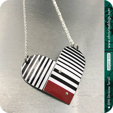 Black & White Striped Upcycled Tin Necklace by Christine Terrell for adaptive reuse jewelry