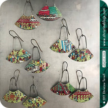 Load image into Gallery viewer, Where's Waldo Upcycled Small Fan Tin Earrings