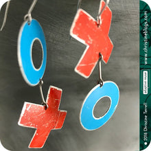 Load image into Gallery viewer, XOXO Blue & Red Hugs & Kisses Zero Waste Tin Earrings