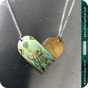 Celadon Green & Antique Gold Upcycled Tin Heart Necklace