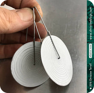 Modern White Etched Concentric Circle Big Upcycled Tin Earrings