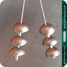 Load image into Gallery viewer, Champagne Pink Zen Chimes Upcycled Tin Earrings by Christine Terrell for adaptive reuse jewelry