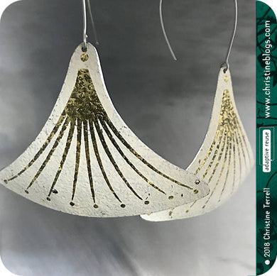 Golden Tassels on White Zero Waste Tin Earrings