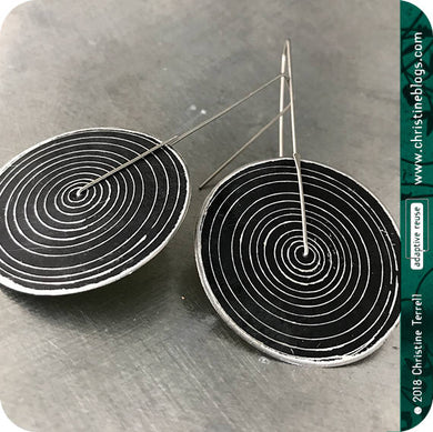 Contemporary Black Concentric Circle Big Recycled Tin Earrings
