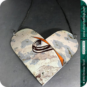 Double Arch Heart Vintage Tin Pendant 40th Birthday Gift