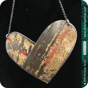 Rustic Double Arch Overlap Big Heart Upcycled Tin Pendant