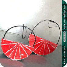 Load image into Gallery viewer, Red Half Moon Saddle Zero Waste Tin Earrings