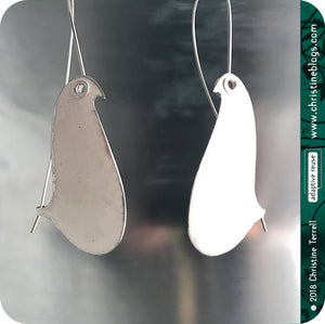 White Birds on a Wire Upcycled Tin Earrings 20th Birthday Gift