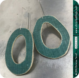 Green Linen Organic Oval Upcycled Book Cover Earrings