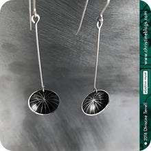 Load image into Gallery viewer, Etched Black Starburst Upcycled Tiny Dot Tin Earrings