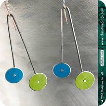 Load image into Gallery viewer, Mod Long Dots Upcycled Tin Earrings by Christine Terrell for adaptive reuse jewelry