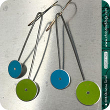 Load image into Gallery viewer, Mod Blue & Green Long Dots Upcycled Tin Earrings by Christine Terrell for adaptive reuse jewelry
