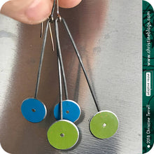 Load image into Gallery viewer, Blue & Green Long Dot Upcycled Tin Earrings