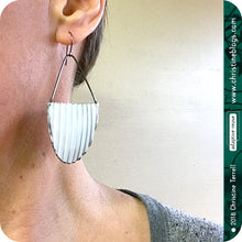 Load image into Gallery viewer, Big White Half Oval Wavy Zero Waste Tin Earrings