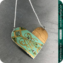 Load image into Gallery viewer, Celadon Green & Antique Gold Upcycled Tin Heart Necklace