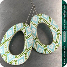 Load image into Gallery viewer, Green & Aqua Harlequin Pattern Organic Ovals Recycled Book Cover Earrings