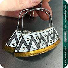 Load image into Gallery viewer, Zig Zag Large Gray & White Zero Waste Tin Earrings