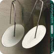 Load image into Gallery viewer, Modern White Etched Concentric Circle Big Upcycled Tin Earrings