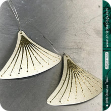 Load image into Gallery viewer, Golden Tassels on White Zero Waste Tin Earrings
