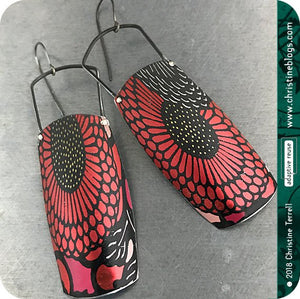 Sunflower Pattern on Red Recycled Tin Earrings Tin Anniversary Gift