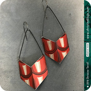 Red Roof Tile Chevrons Recycled Tin Earrings