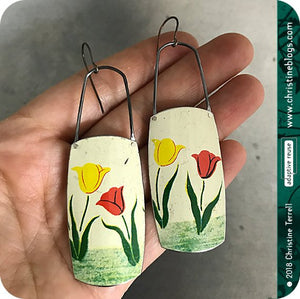 Red & Yellow Tulips Zero Waste Tin Earrings 30th Birthday Gift