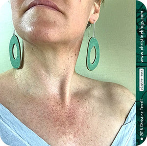 Green & Aqua Harlequin Pattern Organic Ovals Recycled Book Cover Earrings
